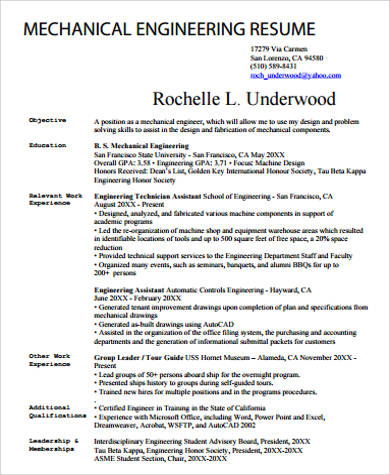 Sample Mechanical Engineering Resume 7 Examples In Word Pdf