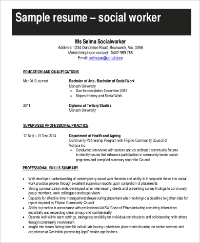 Example Of Social Work Resume  Resume Format Download Pdf