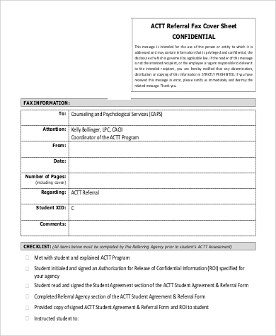 Sample Cover Sheet For Fax   Examples In Word Pdf