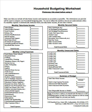 household budget worksheet pdf