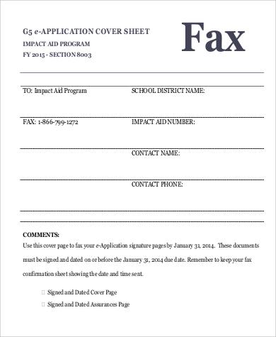 basic cover sheet for fax sample