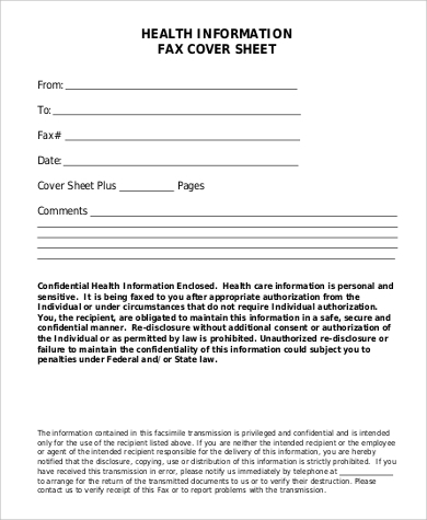 health information cover sheet for fax