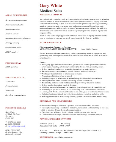 Professional Medical Sales Resume Format In PDF