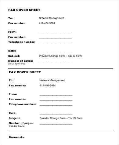 generic fax sheet