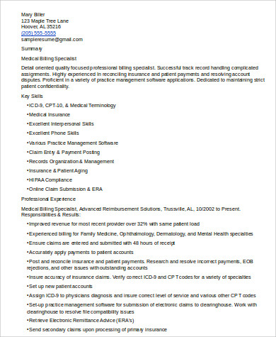 medical billing resume format sample