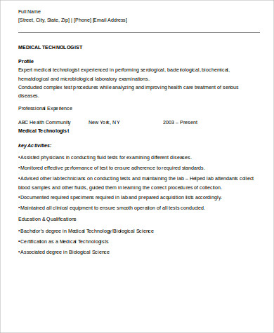 medical technologist resume format