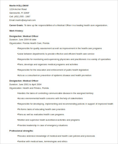medical officer resume format