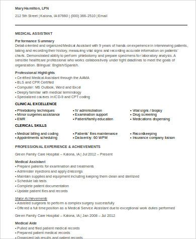 medical assistant resume format