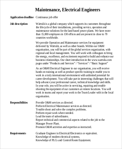 Maintenance Engineer Job Description Sample   Examples In Word Pdf