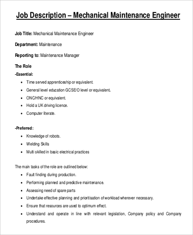 Chief Engineer Job Description Cio Job Description Chief