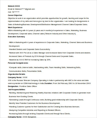 mba marketing resume format
