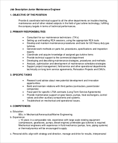 Mechanical Engineer Job Description Sle Mechanical Engineering Job