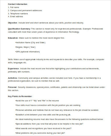 sample fresher marketing resume format