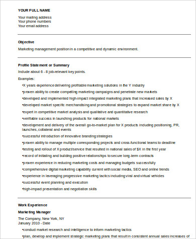 marketing manager resume format