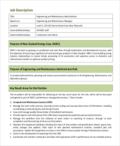 Maintenance Engineer Job Description Sample   Examples In Word