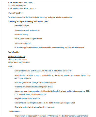digital marketing resume format