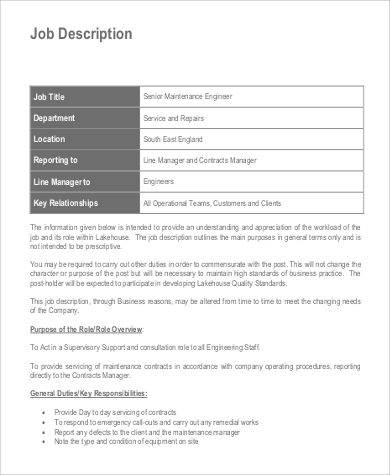senior maintenance engineer job description in pdf