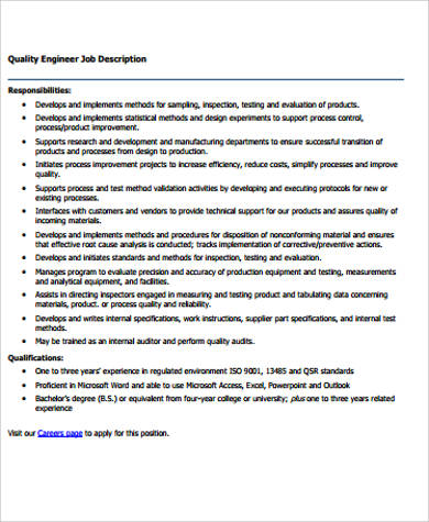 sample quality engineer job description