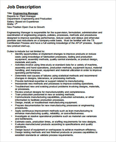 engineer job description sample examples in word - Production Engineering Job