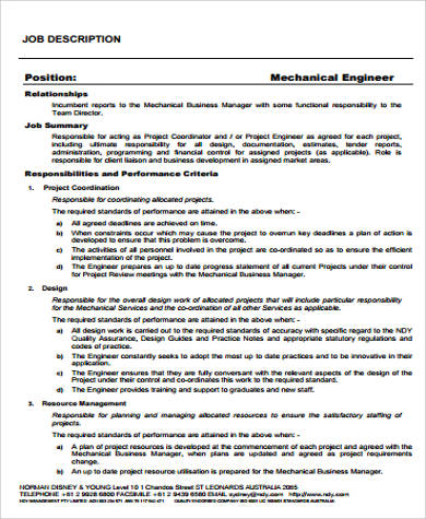 Engineer Job Description Sample - 12+ Examples in Word, PDF