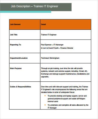 engineer trainee job description