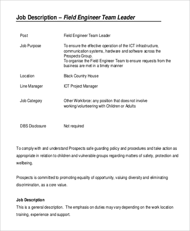 Field Engineer Job Description Sample   Examples In Pdf