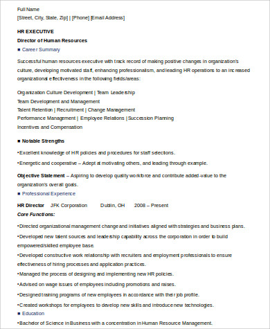 Sample Executive Summary Resume