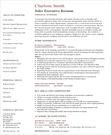 sales executive summary resume