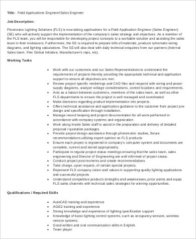 field application engineer job description sample1
