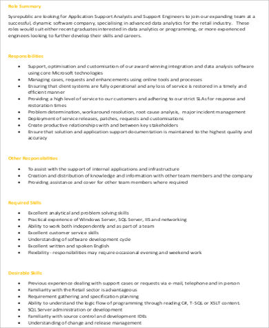Application Engineer Job Description Sample   Examples In Word Pdf