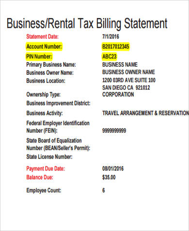 rental billing statement example