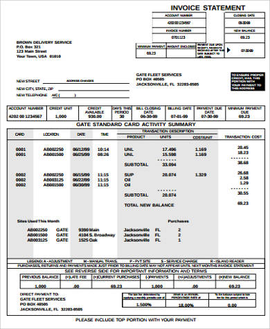 billing invoice statement