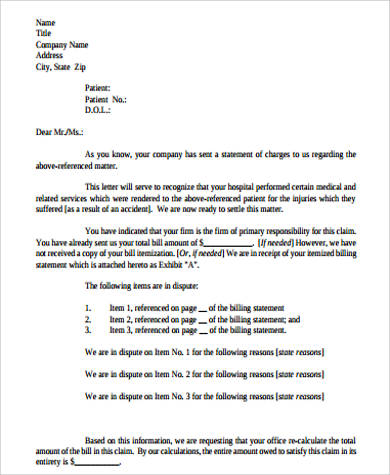 billing statement letter