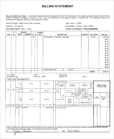 billing statement example