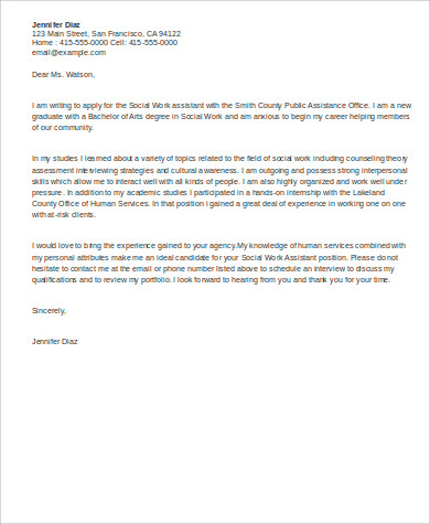 Social Work Assistant Cover Letter Example