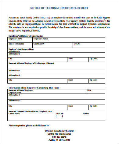 sample notice of termination of employment