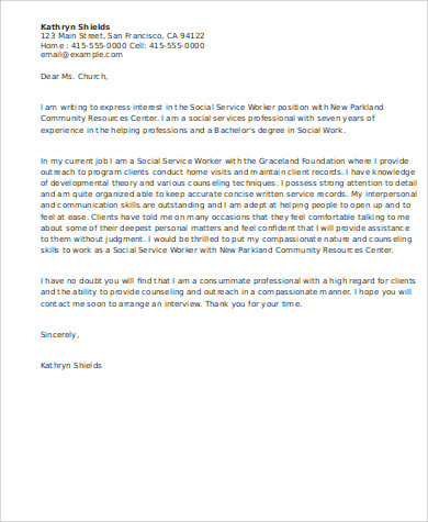 Gallery of work cover letters for Cover letters for social service jobs