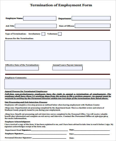Termination Of Employment Form Example