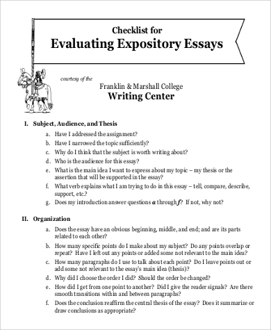 essay evaluation checklist Checklist on writing a deductive literary analysis essay hand in this checklist filled-out with your essay's rough draft materials.