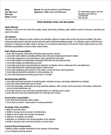 Office Intern Job Description  Sample Ideas