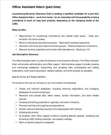 part time office assistant intern job description. Resume Example. Resume CV Cover Letter