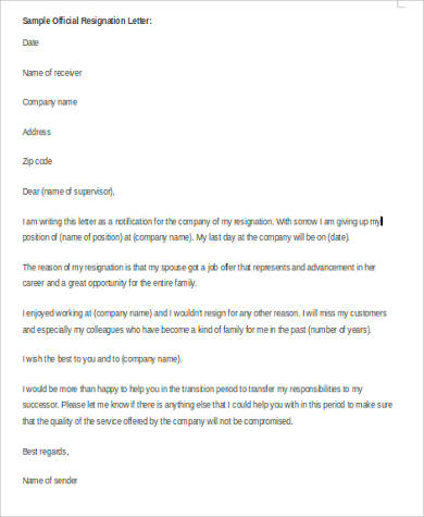 official resignation letter in word