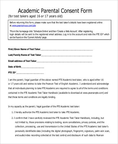 academic parental consent form
