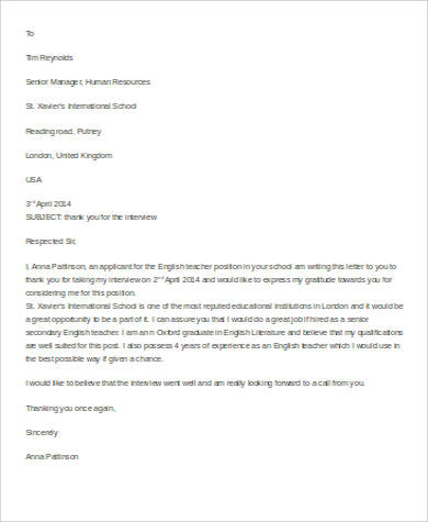 teacher thank you letter for interview