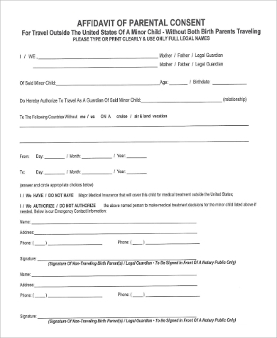 Standard Affidavit For Parental Consent Form