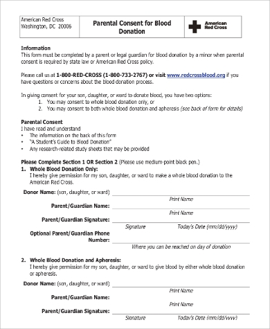 parental consent for blood donation form