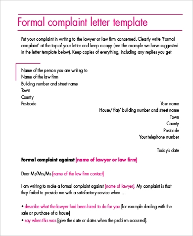 sample complaint formal letter