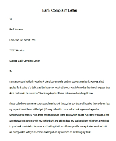 9 complaint letter samples sample templates bank complaint letter example spiritdancerdesigns