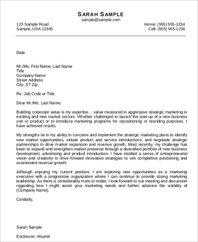cover letter for marketing job application
