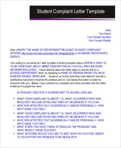 student complaint letter free1